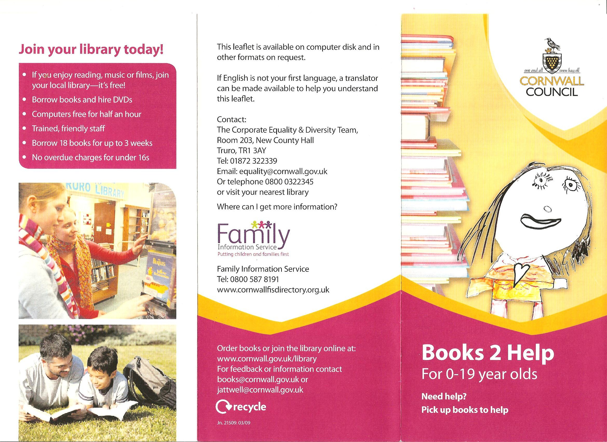 Cornwall Libraries 'Books 2 Help' leaflet