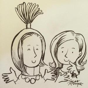 Sarah McIntyre's sketch of me and Judi