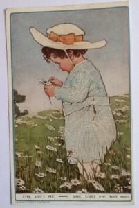 Vintage postcard She Lufs Me, She Lufs Me Not.