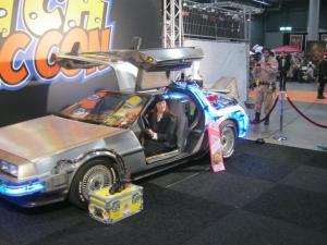 Here I am driving the Delorean, the time-travelling car from the old Back to the Future films. It's a long story.