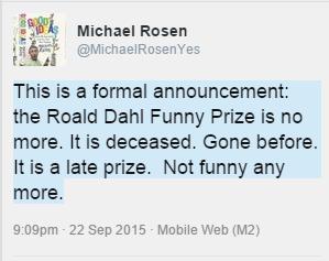 roald dahl funny prize not