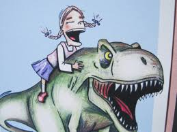 GIrl on a dinosaur