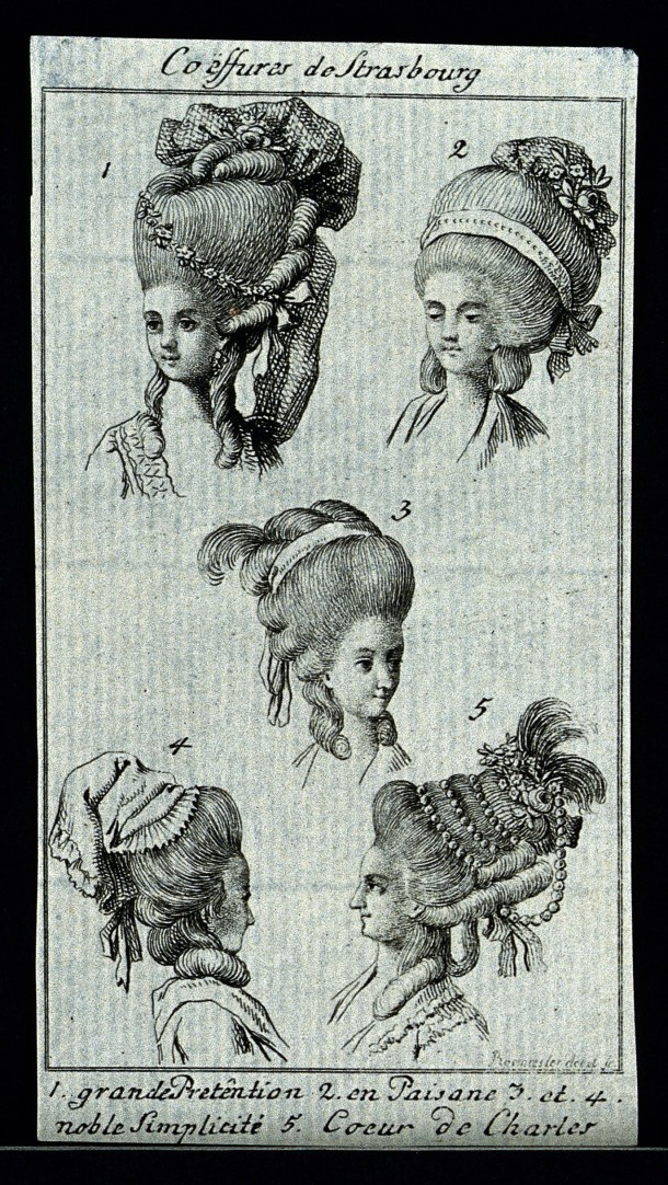 V0019865ER The heads and shoulders of five women who wear elaborate wig