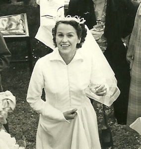 Mum on her wedding day after the war was over.