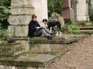 Jo Franklin and Mickey at Nunhead Cemetery